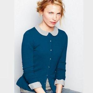 Garnet Hill Tourquoise Blue Cashmere Cardigan